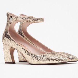Zara gold glitter heels